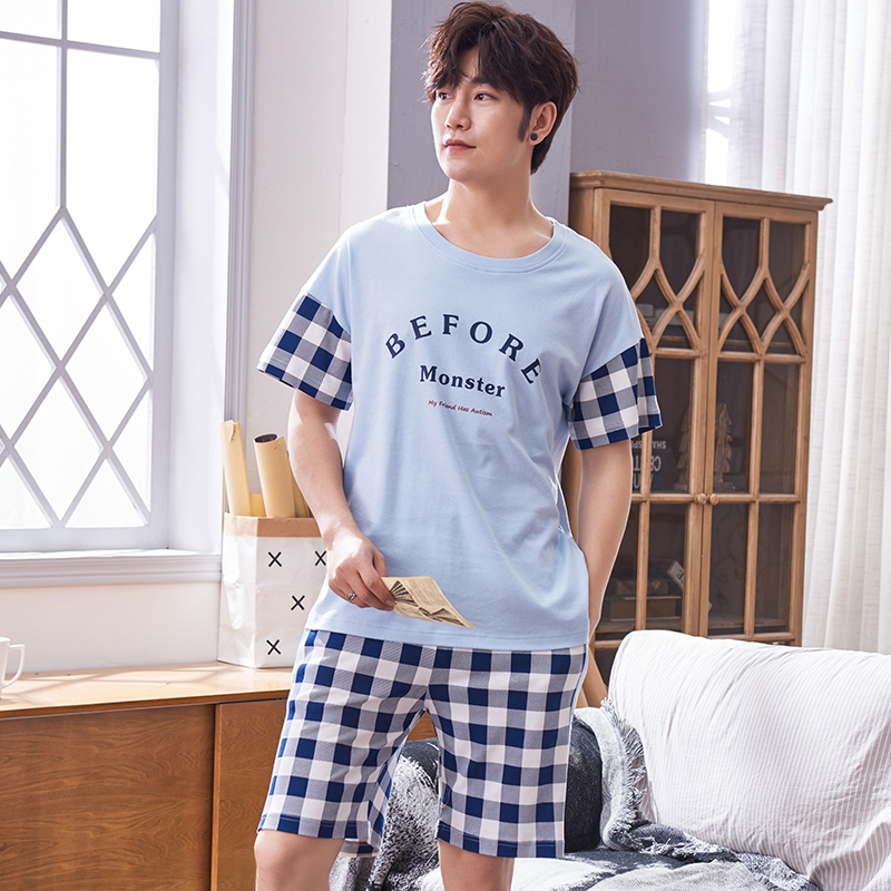 Plus Size 3XL 100% Cotton Pyjamas Men Pijamas Hombre Short-sleeve Letter Tops + Plaid Short Pants Casual Tracksuit Men Homewear