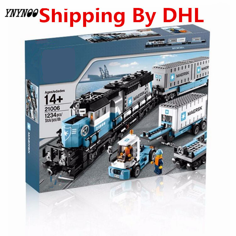 YNYNOO 2017 New LEPIN 21006 1234Pcs Technic Series Maersk Train Model Building Kits Blocks Bricks Compatible Toys Gift 10219 lepin 22001 pirate ship imperial warships model building block briks toys gift 1717pcs compatible legoed 10210