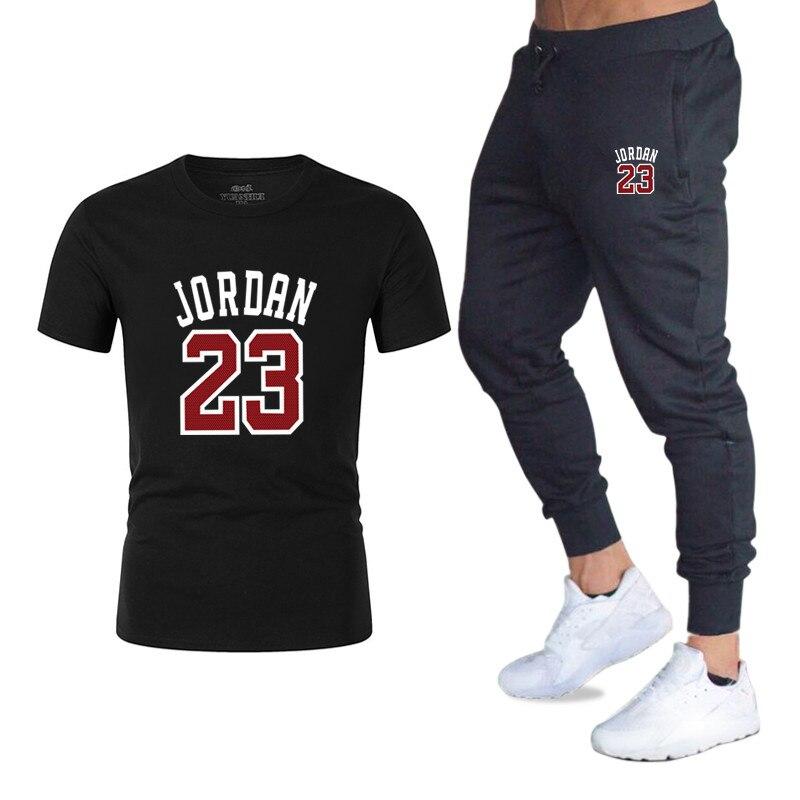 71ecfe115f New Arrivals Casual MaleMen's short sleeve suit T-shirts+Pants Sets Man Jordan  23
