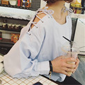 2016 New Fashion Women Cotton Blouses Tops Long Sleeve Loose Summer Female Blouses Casual O-Neck Off Shoulder Lady Tops D579