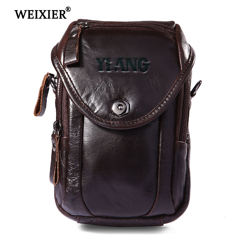 Men's Pockets Leather Material British Fashion Casual Retro Style High Quality Design Multi-function Large Capacity