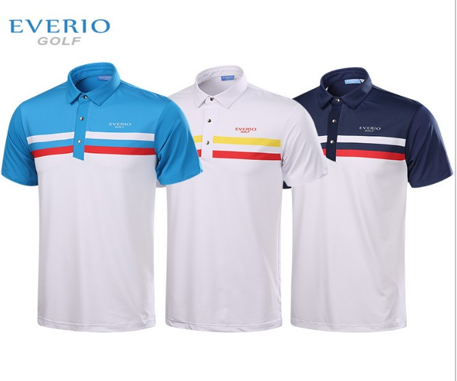 EVERIO summer golf t-shirt short sleeve polo shirt quick dry breathable golf wear 5colors frederique constant fc 285b5b6