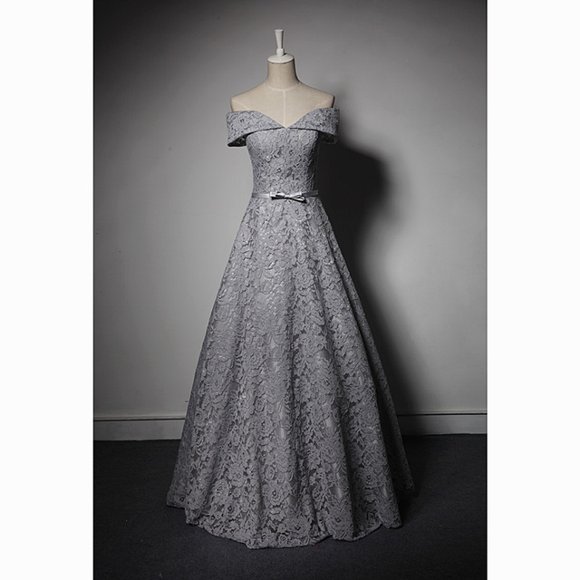 grey full lace embroidery bowknot waist ball gown medieval ...