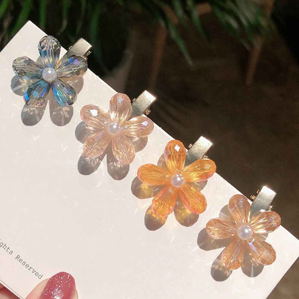 New Korean Shining Crystal Flower Hair Clip Simple Sweet Women Girls Bang Clip Hairpin Hair Accessories Styling Tools