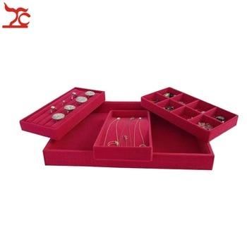 Retail High Quality Grey Velvet Jewelry Ring Organizer Display Cases