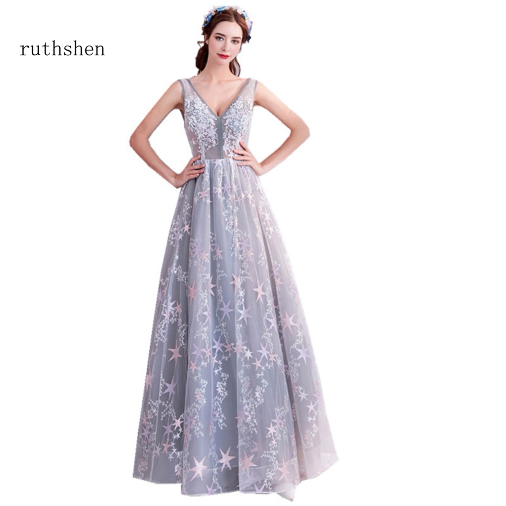 ruthshen 2018 Fashion Formal V Neck Floor Length Prom Dresses Cheap ...