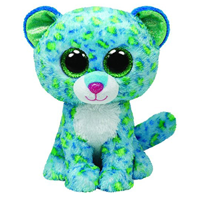 Pyoopeo Ty Beanie Boos 6 15cm Leona Blue Cheetah Plush Regular Soft