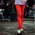 Moda Para Hombre de Estilo Coreano Skinny Jeans De Color Rojo Clásico Fresco Slim Fit Lápiz Pantalones Para Hombre