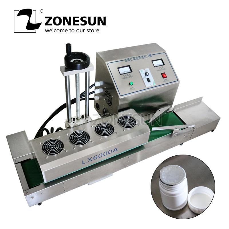 ZONESUN DL-1800 De Bureau En Acier Inoxydable Continue Induction Scellant Magnétique Induction D'étanchéité Machine Costume Pour 15-80mm Diamètre