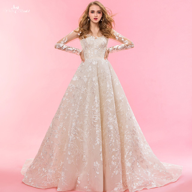 RSW1322 Real Pictures Yiaibridal Long Sleeve Wedding Dress Champagne Robe De Chambre