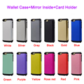 Mobile Phone Case for Samsung Galaxy s6 Mirror Case Card Holder Stand Flip Back Cover Case Wallet Phone Cover Bag for Galaxy S6