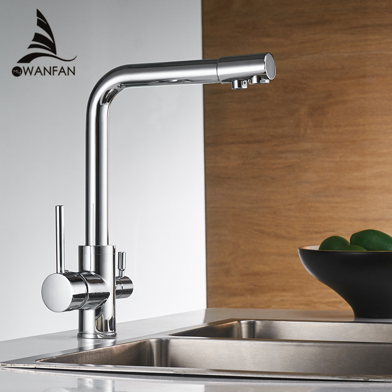 Filter Kitchen Faucets Deck Mounted Mixer Tap Chrome With Water Purification Features Mixer Tap Crane For Kitchen 0175L