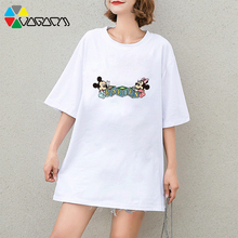 Women Summer Casual Plus Size Harajuku T-shirt Mickey Minnie Mouse Cute Print Tee&top Loose Streetwear Anime T Shirts