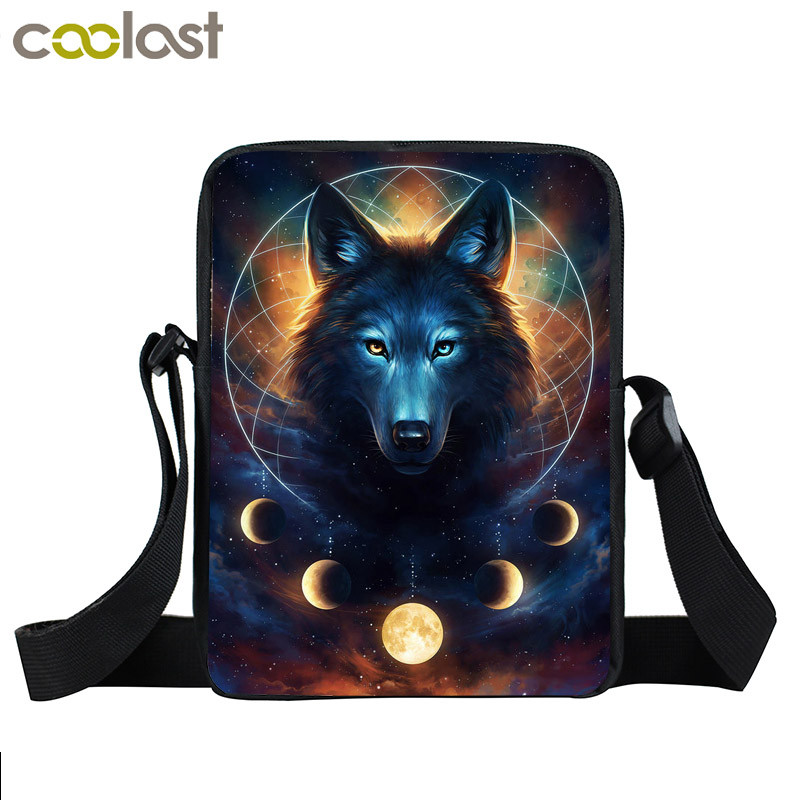 Galaxy Wolf Mini Messenger Bag Women Shoulder Bag Boys Girls School Bags Children Daily Crossbody Bags Kids Bookbag