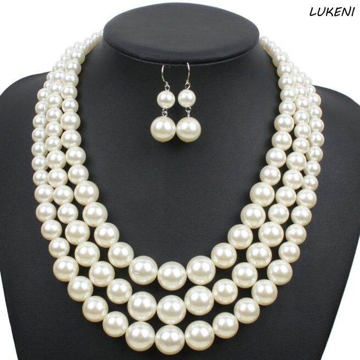 1Pcs/set Hot sale Multi Strand Pearl Necklace New Fashion Imitate Plastic Pearl Bead Party Jewelry For Women
