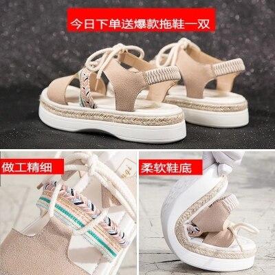 2018 Femelle Coréenne Étudiants Épais Nouveau Chaussures Sauvage Bohème D'été forme Dentelle Sandales Femme Plate Harajuku 0B5xwqTaI