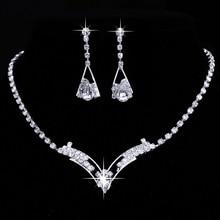 цена Women Sparkling V Shaped Rhinestone Crystal Necklace Earrings Set Charm Wedding Bridal Jewelry Set 2015 charms jewelry