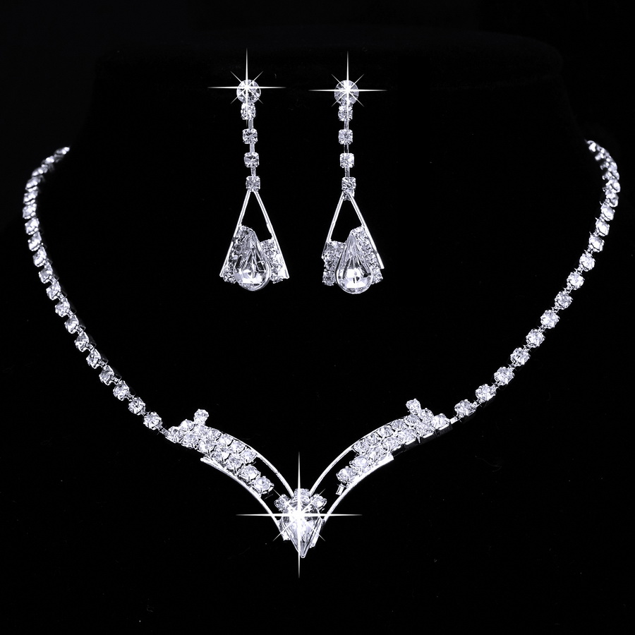 Women Sparkling V Shaped Rhinestone Crystal Necklace Earrings Charm Wedding Jewelry Set Bridal Jewelry Set Wedding