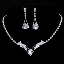 Women Sparkling V Shaped Rhinestone Crystal Necklace & Earrings Charm