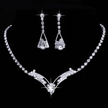 Jewerly Sets Wedding Bridal Set Drop Earring Jewelry Women Sparkling V Shaped Rhinestone Australia Crystal Necklace for Women(China)