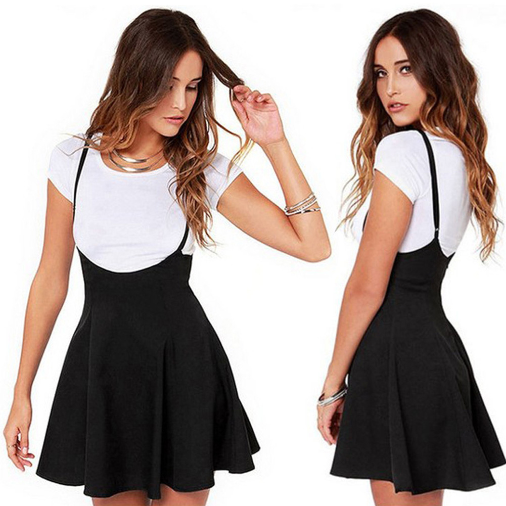 Summer Casual High Waist Mini Suspender Fashion Strappy Pleated Backless Solid Skater Adjustable Strap Zipper Soft Women Skirt