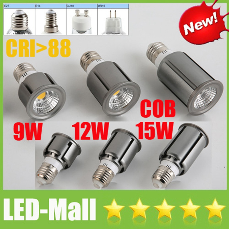 2017 Newest CREE COB 9W 12W 15W LED Spotlights GU10 E27 E14 MR16 Dimmable Spot Lights display Bulbs Lamp Warm/Cool/Natural white
