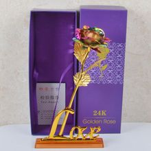 Gold Rose Flower Golden with Box Valentines Day Creative Gift 24K Foil Plated Lasts Forever Love Wedding Decor