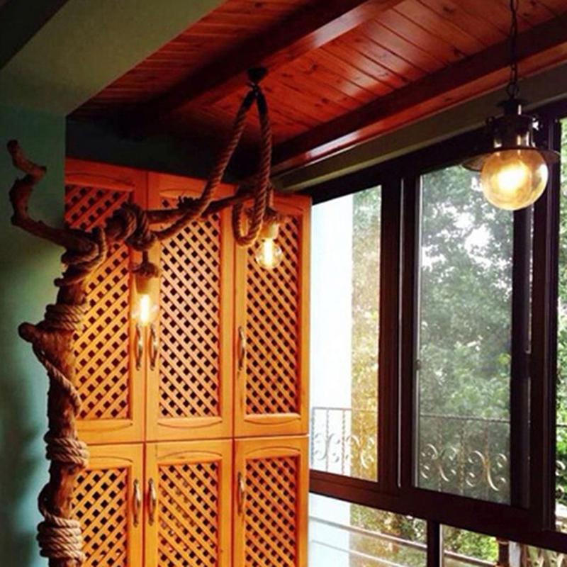 AsyPets Vintage Hemp Rope Ceiling Chandelier Creative Pendant Lamp Hanging Lights For Living Room Bar Public Places Decor