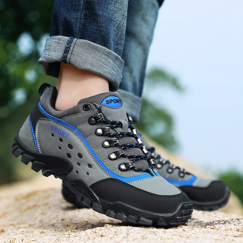 Men 39 s Genuine Leather Waterproof Hiking Shoes 2019 Spring Tourism Camping Trekking Shoes Outdoor Climbing Mountain Male Sneakers in Hiking Shoes from Sports amp Entertainment