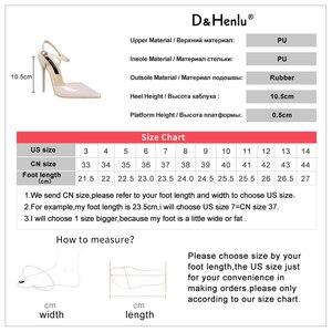 Image 5 - D & Henlu קרסול רצועת סנדלי נשים נעלי עקבים גבוהים וו מחודדת פגיון לכה pupms סקסי קיץ למסיבה חתונה