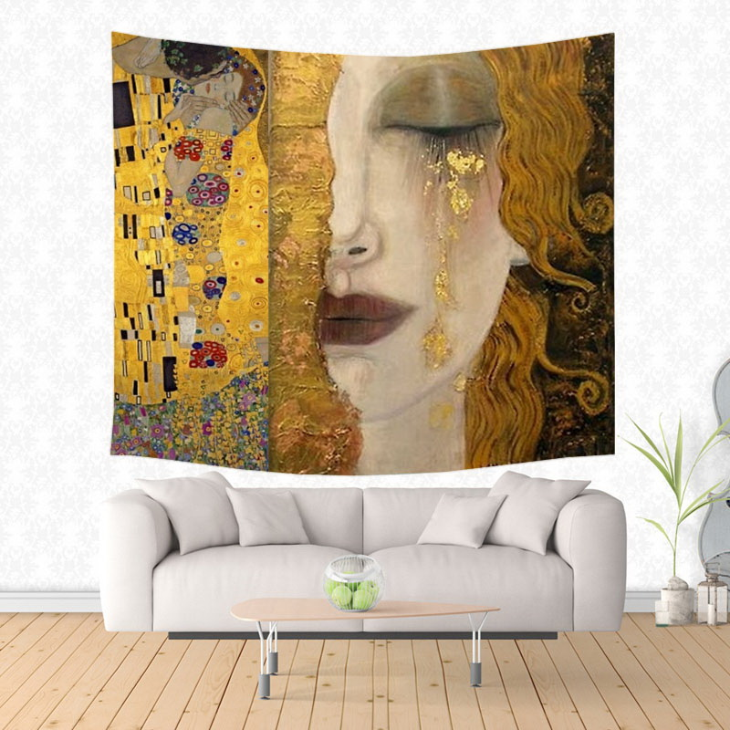New York City Tapestry Abstract Modern Painting Wall Art BLACK Hippie Hanging Ho