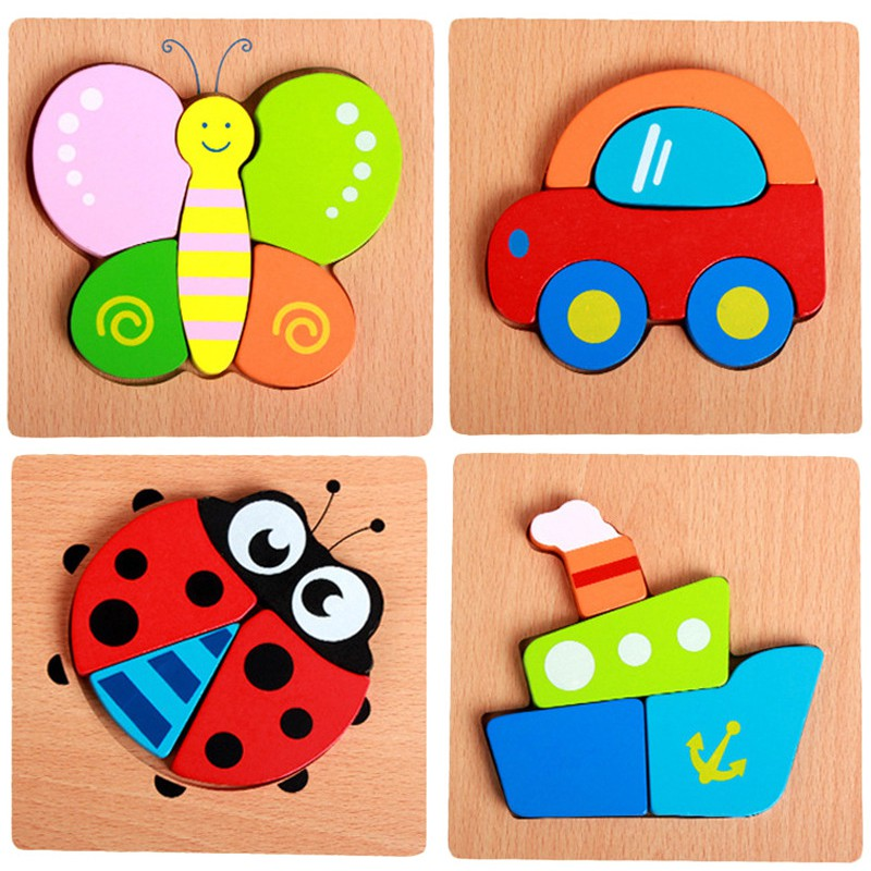 Lovely Wooden 3D Puzzle Jigsaw Wooden Toys For Children Cartoon Animal Puzzle Intelligence Kids Educational Toys children s early childhood educational toys the bear change clothes play toys creative wooden jigsaw puzzle girls toys