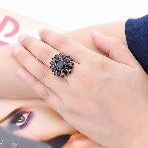 Image 5 - Gümüş granat yüzük 925 takı taş 7.54ct doğal siyah Garnet yüzükler kadın güzel takı klasik tasarım noel hediyesi