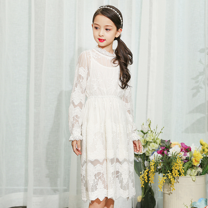 Girl Lace Long Dress With Sweet Flower For Baby Teen Kids Princess Wedding Prom Party White/Cream Long Sleeved Dress girl lace long dress with sweet flower for age 3 7 baby kids princess wedding prom party white cream big bow long sleeves dress
