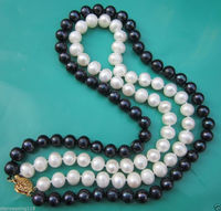 Fashion Girl 2 Rows 7 8mm BLACK WHITE Freshwater PEARL NECKLACE 17 18 AA
