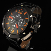 Venta de la promoción envío gratis Deporte militar hombres reloj de cuarzo de moda reloj de pulsera de reloj de cuero de la Voga V6 93H3Y
