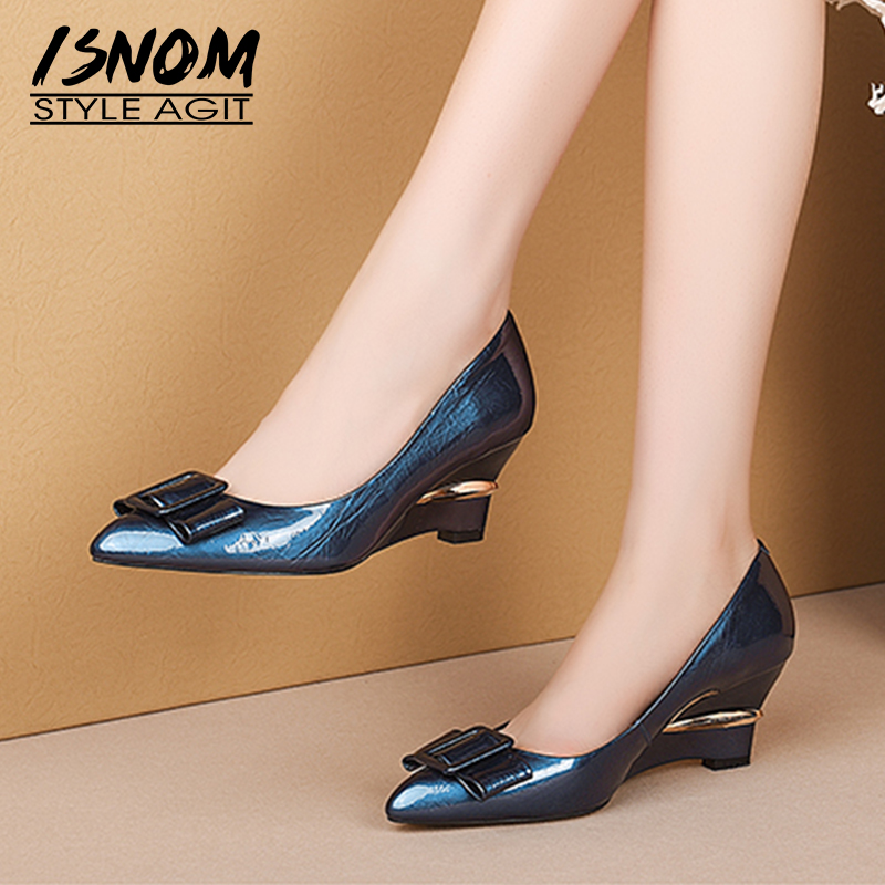ISNOM Genuine Leather Pumps Women Wedges High Heels Pumps Shallow Shoes Female Pointed Toe Buckle Shoes Ladies Autumn 2019 New