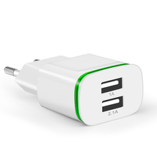 Plug 2 Ports LED Light  USB Charger 5V 2A Wall Adapter Mobile Phone Micro Data Charging For iPhone iPad Samsung
