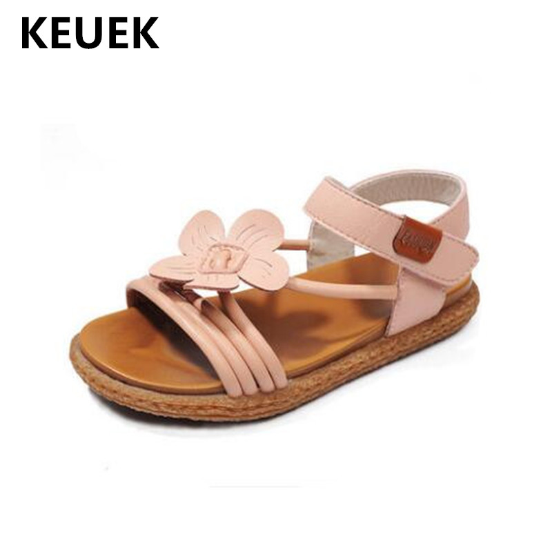 New Summer Baby Sandals Girls Flowers Flat Toddler Shoes Beach Gladiator Soft Leather Princess Children Shoes Kids Sandals 02