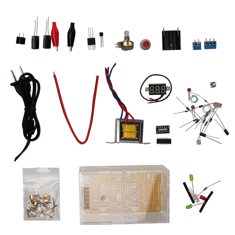 2W 220V DIY LM317 Adjustable Voltage Power Supply Board Learning Kit Electronics 1.25V-12V Wholesale lm317 adjustable dc power supply voltage diy voltage meter electronic training kit parts