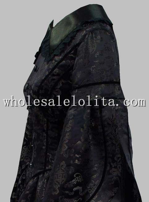 Готический Черный Brocade Викторианской Era Период Dress Воспроизводства Хэллоуин Тематические Costume Dress