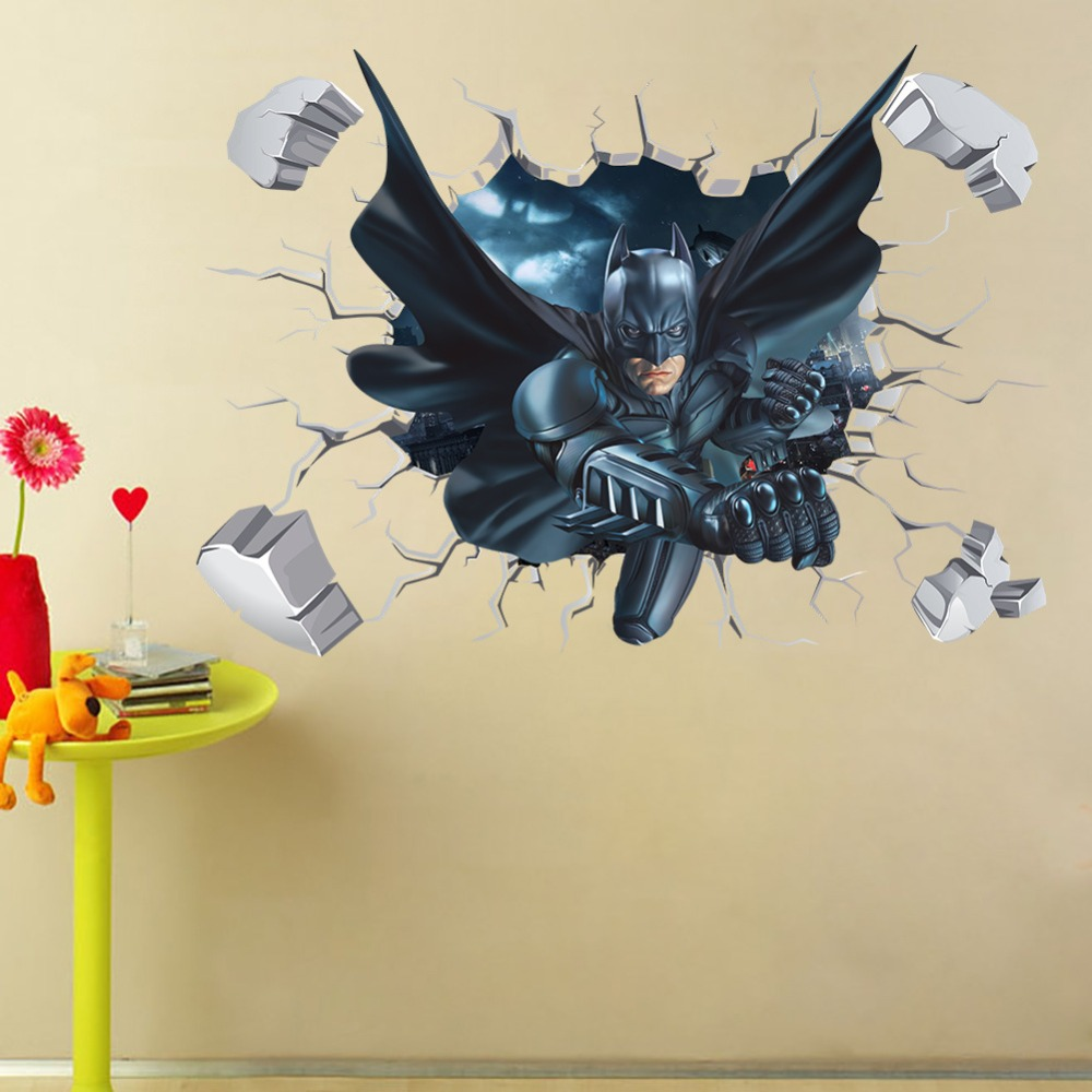 3D Cartoon Broken Walls Batman Wall Stickers For Kids Room bedroom ...