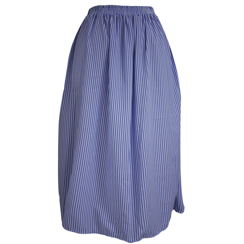 Pleated Skirt Long African Skirt Knit Harajuku Clothing chic blue ...