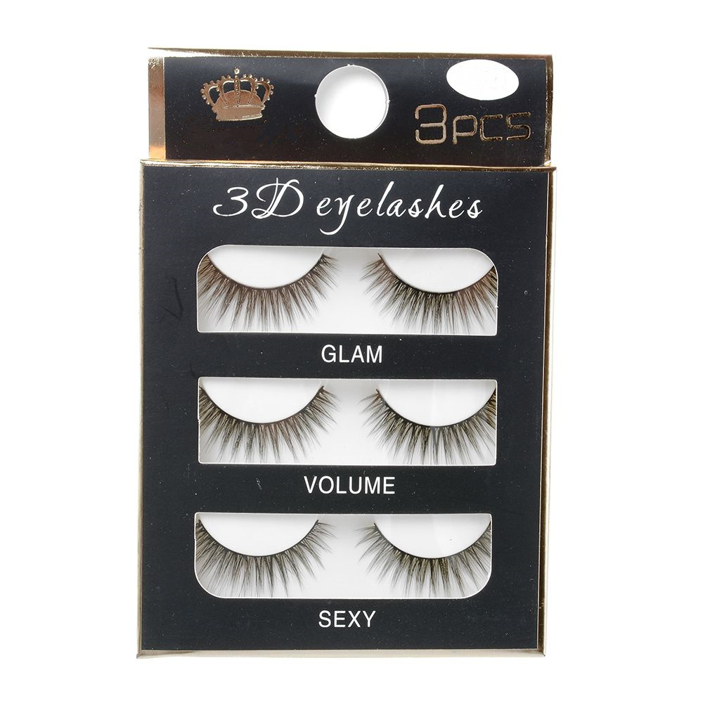 3 Pairs Natural Black Handmade Eye Lash Extension 3D False Eyelashes Long Thick Hair