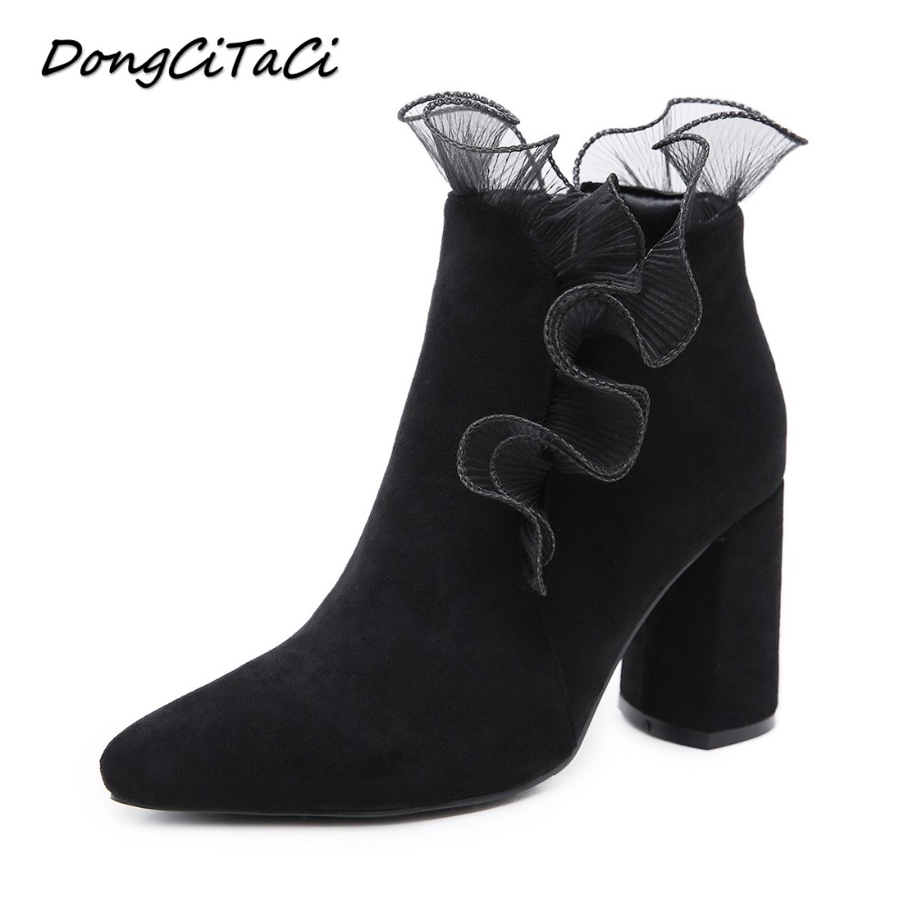 DongCiTaCi Autumn Winter Women Lace Ankle Boots Shoes Women Square Thick Heel Pleated Flared Party Wedding Dress Short Bootie