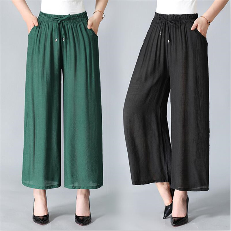 New Summer Women Large Size 6XL 7XL Cotton Ankle-Length   Pants   Casual Loose   Wide     Leg     Pants   Solid Pocket Straight   Pants