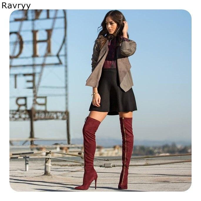 Vin Hiver Automne Chaussures Femme En the Cuir Bottes Zipper Suédé Mince Talon Picture genou Bout Over Longues Femmes De 2018 Rouge Pointu Mode As xdCreBoW