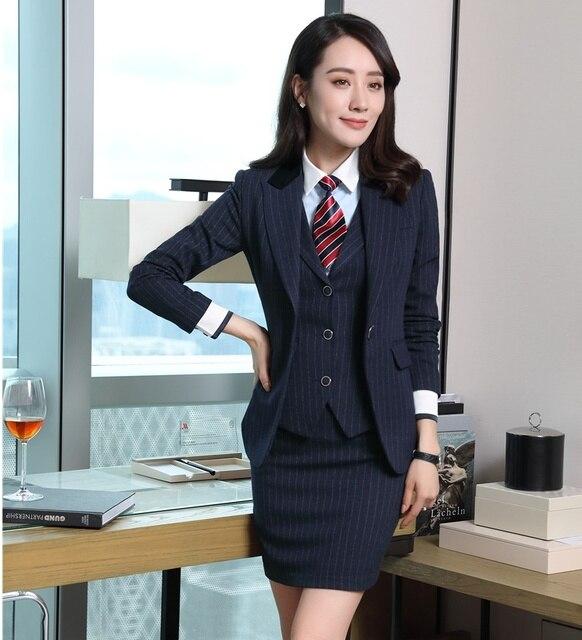 Señoras formales Blazers mujeres Trajes con falda 3 unidades falda +  chaqueta + chaleco Sets Oficina a9c34d08f01f