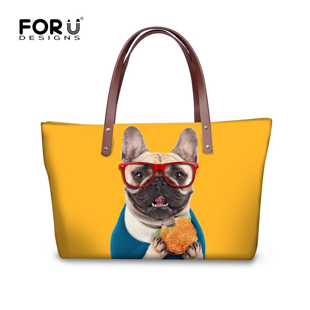 2018 Fashion Women Handbag High Quality Shoulder Bags French Bulldog Cat Designer Ladies Shopping Bags Large Travel Bags Mochila