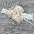 Handband Атласная Цветок Соответствия Искрение Горный Хрусталь Жемчуг на Кружева Оголовье Ребенка Оголовье Старинные Оголовье